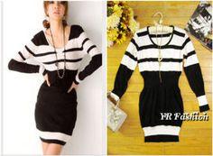Korean Black and White Striped Stretch Knit Dress