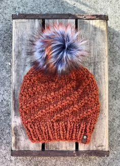3c0280ff397 Spice Cylone Hand Knit Beanie Autumn Storm Faux Fur Pom Pom Hat