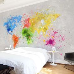 Next Post Previous Post Bedroom wallpaper with world map created by splashes of color ➔ World map for original walls Bedroom Wallpaper Colours, Bedroom Colors, Gray Bedroom, Bedroom Bed, Color World Map, World Map Wallpaper, Wall Decor, Room Decor, Mural Wall Art