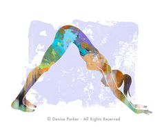 Yoga Art DOWNWARD DOG  Large Yoga Art Yoga Wall Art by YogaColors