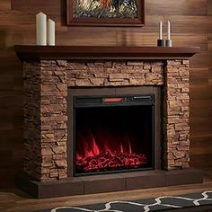 The Comfort Smart Stackstone Electric Fireplace Mantel Package - combines an electric fireplace with a beautiful Simulated Stone Fireplace Mantel. Stone Fireplace Mantel, Brick Fireplace Makeover, Rock Fireplaces, Farmhouse Fireplace, Fireplace Design, Basement Fireplace, Fireplace Modern, Porch Decorating, Interior Decorating