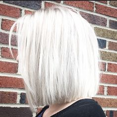Metallic white blonde with precision cut bob @hairbyac_alcorn
