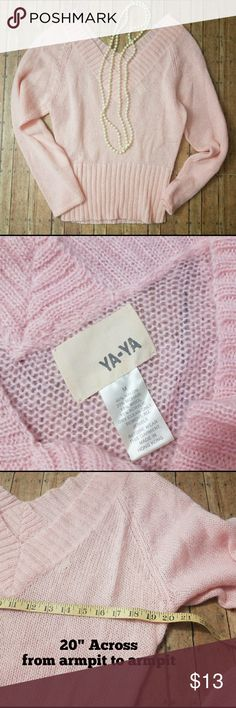 **REDUCED** YA-YA v-neck sweater Light pink sweater with a  deep v-neck in the front & back. There is a tiny snag/hole noted in the picture, but it is hardly noticeable.  Measurements in pictures. *jewelry for styling photo only* NO TRADES ***NO PAYPAL  SMOKE FREE & PET FREE HOME YA-YA Sweaters V-Necks