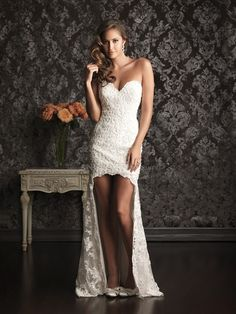 Lace High Low Sheath/ Column With Buttons Sweetheart Sleek Wedding Dresses