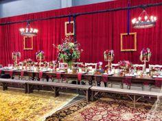 Red wedding, candelabra, Edison bulb Floral design by Kari Shelton Intelligent Lighting Design