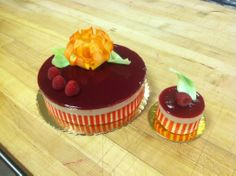 Raspberry Bavarian Mousse Entrement and Petite Gateaux with White Chocolate rose