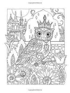 Creative Haven Owls Coloring Book artwork by Marjorie Sarnat: