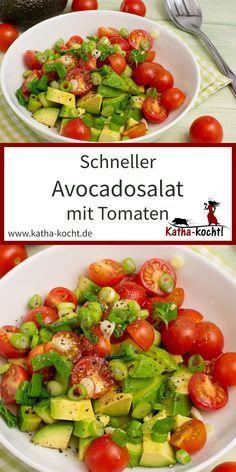 Fast avocado salad - My quick avocado salad with tomatoes is a tasty and uncomp. - Fast avocado salad – My quick avocado salad with tomatoes is a tasty and uncomplicated accompani - Avocado Tomato Salad, Avocado Salat, Crock Pot Recipes, Steak Recipes, Grilling Recipes, Healthy Salads, Healthy Recipes, Avocado Dessert, Summer Recipes
