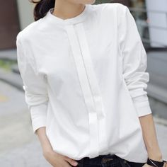 Wholesale Simple Stand-Up Collar Solid Color Long Sleeve Women's Blouse Only $7.86 Drop Shipping | TrendsGal.com
