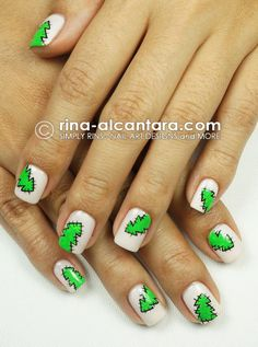 I patched my nails with Christmas Trees to celebrate the season! :)
