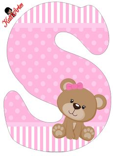 -S- pink Teddy Bear Clipart Baby, S Alphabet, Alphabet And Numbers, Letras Baby Shower, Photo Bb, Diy And Crafts, Paper Crafts, Baby Shawer, Bear Party