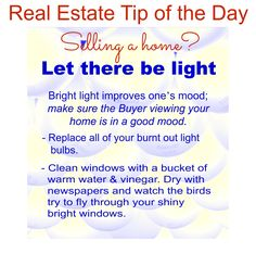 Selling a home? Real Estate Tip of the Day Let there be Light! - Selling House Tips - Ideas of Selling House Tips - Selling a home? Real Estate Tip of the Day Let there be Light! Real Estate Quotes, Real Estate Tips, Selling Real Estate, Real Estate Investing, Real Estate Business, Real Estate Marketing, Boca Raton Real Estate, Be Light, Home Selling Tips