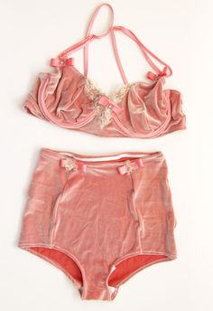 CHANTALLE  light pink velvet lingerie set  by DDSLLGirlsStore