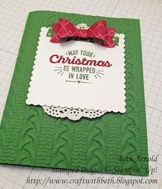 Craft with Beth:  Wrap yourself in Christmas cheer with this cozy knit card!  Warmth and Cheer Dynamic Knit Texturized Embossing Folder TIEF Stampin' Up! Christmas Card