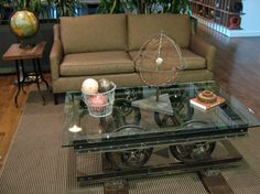 a steampunk coffee table! love the wheels but would prefer old wood on top