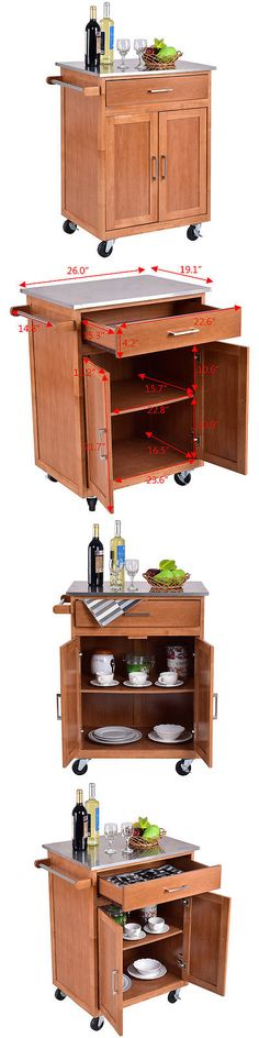 Kitchen Islands Kitchen Carts 115753: Wood Kitchen Trolley Cart Stainless Steel Top Rolling Storage Cabinet Island New -> BUY IT NOW ONLY: $109.99 on eBay!