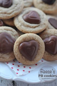 Reeses peanut butter cookies with heart shaped center candy for Valentine's day.