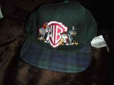 8225dbe8bb5 Vintage WB Looney Tunes Plaid Snap Back Snapback Hat Cap 80s 90s Rare Retro  Cartoon Taz