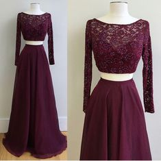 Gorgeous A-Line Two-Piece Long Sleeves Burgundy Long Prom Dress