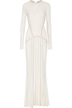 ROBERTO CAVALLI Open-back leather-trimmed lace gown