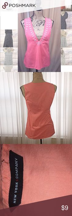 Embellished cotton tank NY&CO Plunging V Neck. Lightweight peachy pink tank New York & Company Tops Tank Tops