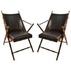 Pair Folding  Campaign Chairs Made in Italy | From a unique collection of antique and modern lounge chairs at http://www.1stdibs.com/furniture/seating/lounge-chairs/ Outdoor Chairs, Outdoor Furniture, Outdoor Decor, Lounge Chairs, Shower Chair, Butterfly Chair, Campaign Furniture, British Colonial Style, Interior Concept