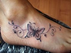 butterfly tattoo on the foot #butterfly #tattoo