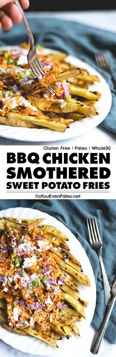 BBQ Chicken Smothered Sweet Potato Fries is exactly what it sounds like - a hearty, satisfying, flavorful meal that's also gluten free, paleo, and whole30-friendly! | DoYouEvenPaleo.net Paleo Recipes, Paleo Ideas, Potato Recipes, Whole Food Recipes, Cooking Recipes, Healthy Cooking, Healthy Food, Whole 30 Chicken Recipes, Chicken Meals