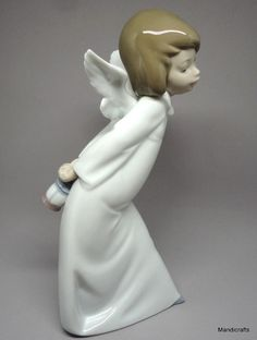 Lladro #CuriousAngel Figurine Porcelain Spain 9.5in 24cm Box 1980s Never display #Lladro