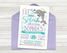Dolphin Birthday Invitation, Ocean Birthday Invitation, Under The Sea Invitation, Pool Party Birthday Invitation - Printable
