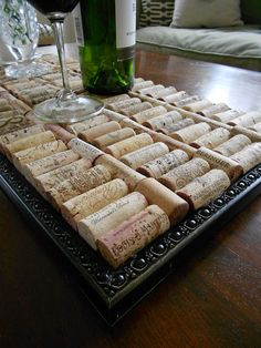 Upcycle an odd frame or mirror into a wine cork tray!