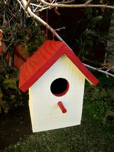 Red and Yellow Wooden Birdhouse Handcrafted Wooden by martinez824, $22.00