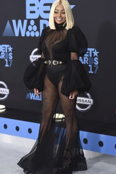 BET Awards Blac Chyna walks the red carpet. Angela Renee White, Black Chyna, Bet Awards, Awards 2017, Michael Costello, Plunge Bodysuit, Single And Happy, Interesting Faces, Celebs