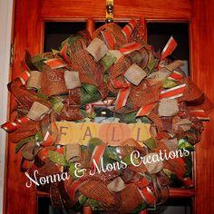 Festive Fall Pumpkin Deco Wreath by NonnaAndMonsCreation on Etsy