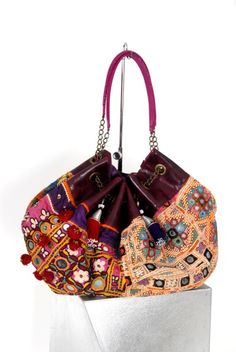 Ethnic Shopping bag  Antique colorful silk and cotton shopping bag with handmade embroideries and leather details. The inner part of the bag is 100% silk.
