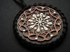 Mandala Pendant  sterling silver oxidised by JeanBurgersJewellery,