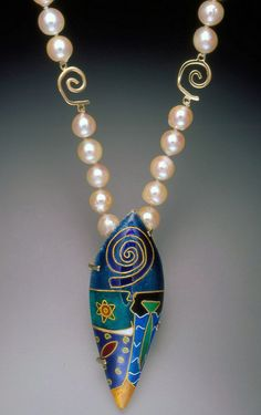 "Jennifer Kidd (Former) exhibiting member in Jewelry ""Boy Meets Girl"" pearls, 14K gold, 24K gold, sterling silver, fine silver, enamel"