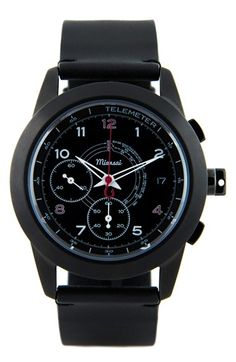 Miansai 'M1 Noir Classic' Automatic Chronograph Leather Strap Watch, 39mm (Online Only) available at #Nordstrom