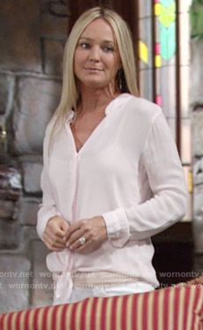 20d078dd010411 Sharon s pink tie front shirt on The Young and the Restless Sharon Pink