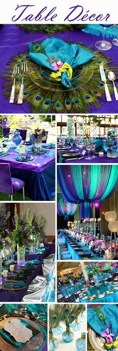mardi gras theme in blue and teal wedding flowers Purple/Teal Wedding Centerpieces or Events Decorations, romantic . by sonya Peacock Wedding Colors, Peacock Decor, Peacock Theme, Peacock Colors, Peacock Feathers, Purple Peacock, Bright Colors, Purple Teal, Wedding Flowers