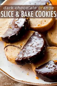 Dark chocolate and sweet orange slice and bake cookies! Make ahead of time and j… Dark chocolate and sweet orange slice and bake cookies! Make ahead of time and just pop into the oven when the craving hits! Recipe on sallysbakingaddic… Buttery Cookies, No Bake Cookies, Yummy Cookies, Lemon Cookies Easy, Soft Sugar Cookies, Fancy Cookies, Baking Cookies, Homemade Cookies, Gourmet