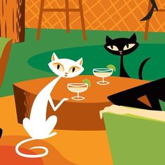 "Tiki Art: ""Tiki Cats and Kittens,"" Josh Agle / Shag/ Mid Century Modern/ Illustration/ Cocktails Decoupage Vintage, Mid Century Modern Art, Mid Century Art, Tiki Art, Retro Art, Retro Futurism, Cool Cats, Cat Art, Unique Art"