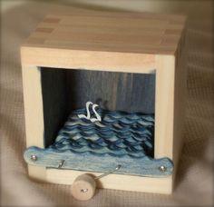 Hand Crank Swans In A Box Automata (indigo)