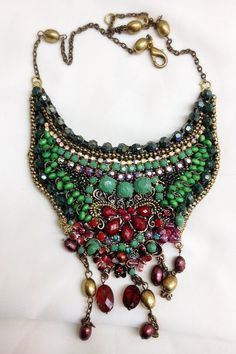 Statement Necklace - green and bordeaux beads shining and green raistone - hand made  - hand made - original and one of a kind. on Etsy, 450.00 ₪