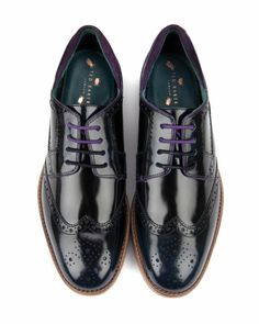 RTIVO - High shine leather brogue - Navy | Men's | Ted Baker