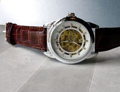 SALE - Automatic Mechanical Wrist Watch Vintage Art Deco Style Silver Trim White Dial Brown Leather Band Steampunk Skeleton Movement