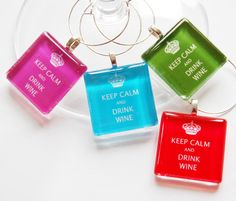 Keep Calm Drink Wine Wine Glass Charms Wine by KellysMagnets