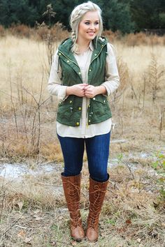 Long Time Gone Vest: Army Green.  Shophopes.com. Cute  clothes here