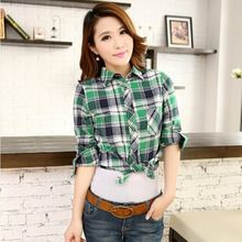 brushed flannel plaid shirts women slim long sleeve casual tartan feminina ladies office shirts shirt tops  From plonlineventures.com At Your Aliexpress link