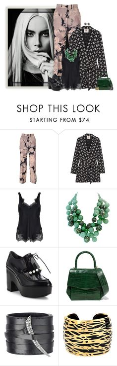 """""""floral trousers"""" by niteowlgirl ❤ liked on Polyvore featuring Dries Van Noten, Figue, Helmut Lang, Robert Clergerie, Nancy Gonzalez, Shaun Leane, Diane Von Furstenberg and Alexis Bittar"""